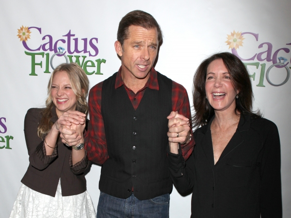 Jenni Barber, Maxwell Caulfield and Lois Robbins attends the 'Cactus Flower' Meet & Greet the Press event at the Westside Theatre in New York City.