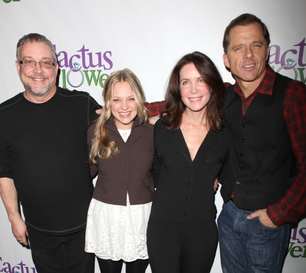 Director Michael Bush, actors Jenni Barber, Lois Robbins & Maxwell Caulfield  attends the 'Cactus Flower' Meet & Greet the Press event at the Westside Theatre in New York City.