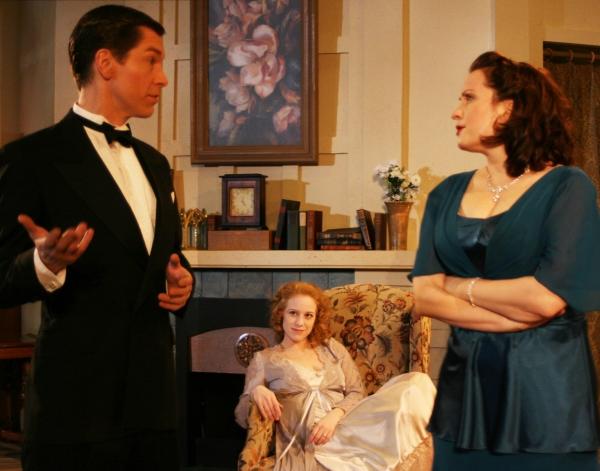 Nick Sandys (Charles Condomine), Melanie Keller (Elvira Condomine) & Erin Noel Grennan (Ruth Condomine)