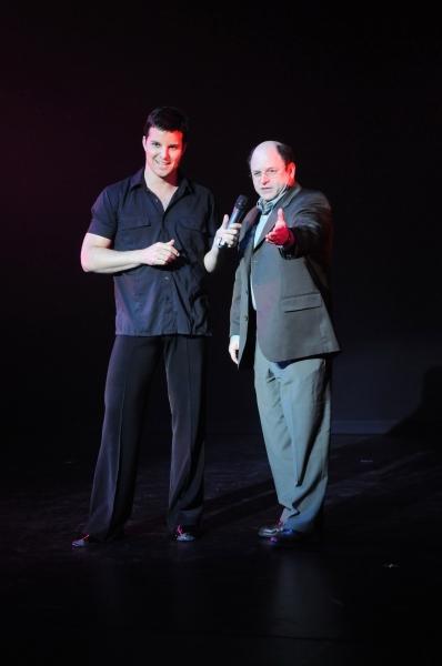 Jon Roberts on stage with Jason Alexander