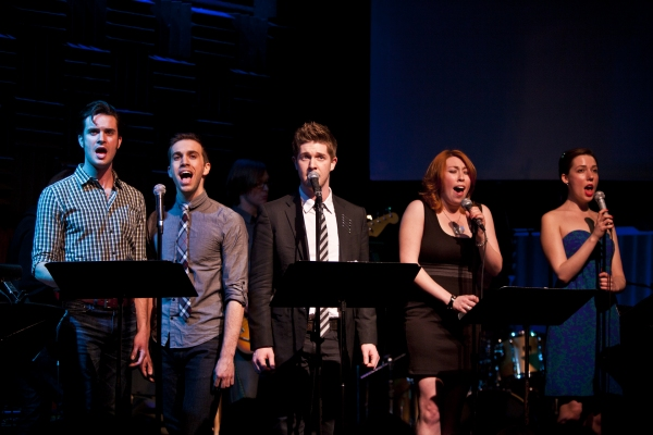 Michael Lowney, Geoff Kidwell, Eric Michael-Krop, Katie Gassert and Grace Wall at Ryan Scott Oliver Celebrates Songbook Release at Joe's Pub