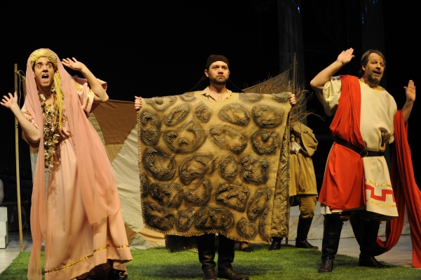 (L-R) Chad Callaghan (Flute/Thisbe), Tom Coiner (Snout/Wall) and Lawrence Hecht (Bottom/Pyramus)
