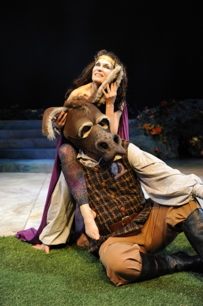 Kathleen McCall as Titania and Lawrence Hecht as Bottom
