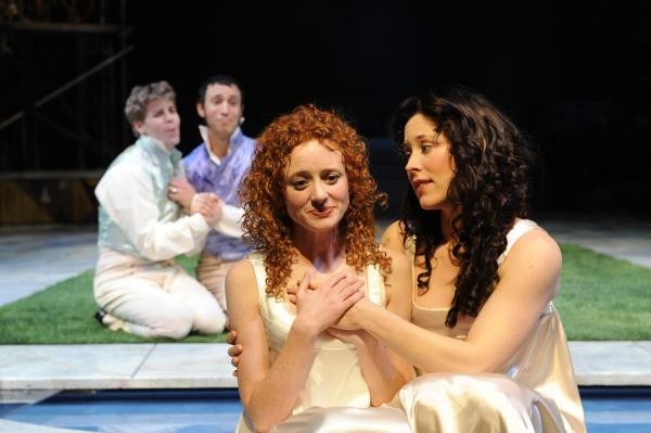 (L-R) Leigh Miller (Lysander), Drew Cortese (Demetrius), Caitlin Wise (Hermia) and Allison Pistorius (Helena)