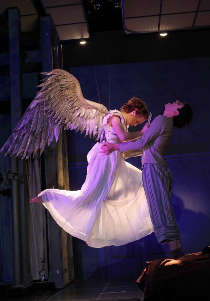 Sofia Jean Gomez as 'The Angel' and Michael Urie as 'Prior Walter'