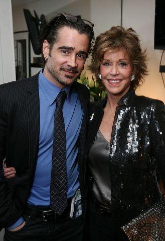 Colin Farrell (L) and cast member Jane Fonda