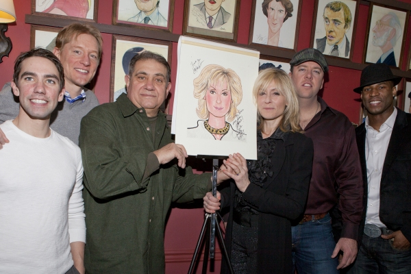 Keith Nobbs, Bill Dawes, Dan Lauria, Judith Light, Chris Sullivan and Robert Christopher Riley  at Sardi's Honors LOMBARDI's Judith Light with Caricature