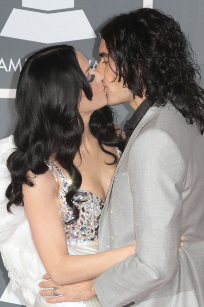 Katy Perry and Russell Brand pictured at The 53rd Annual GRAMMY Awards held at Staple Photo