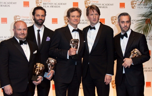 Gareth Unwin, Emile Sherman, Colin Firth, Tom Hooper and Iain Canning (l-r) pose with the award for Best Film for 'The King's SpeechÃ�'ï�¿½Ã' 'in the winner's pressroom of the Orange British Academy Film Awards, aka Baftas, at Royal Opera House i