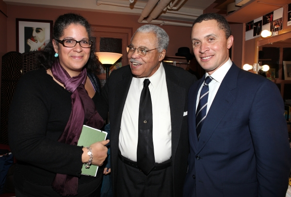 Jennifer Morgan & Former Tennessee Congressman Harold Ford, Jr. visit James Earl Jones backstage before participating in the 'Driving Miss Daisy' Talkbacks at the Golden Theatre in New York City.