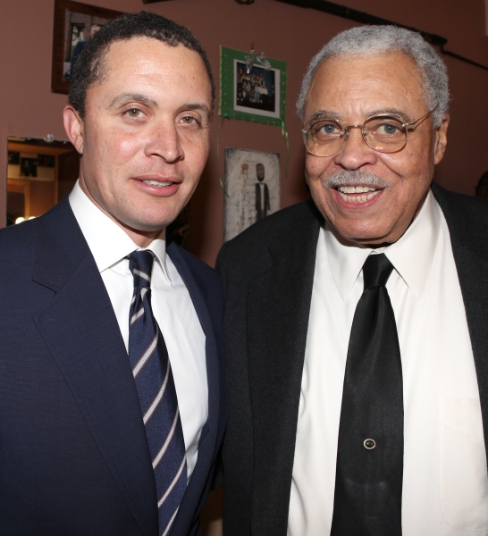 Former Tennessee Congressman Harold Ford, Jr. visits James Earl Jones backstage before participating in the 'Driving Miss Daisy' Talkbacks at the Golden Theatre in New York City.