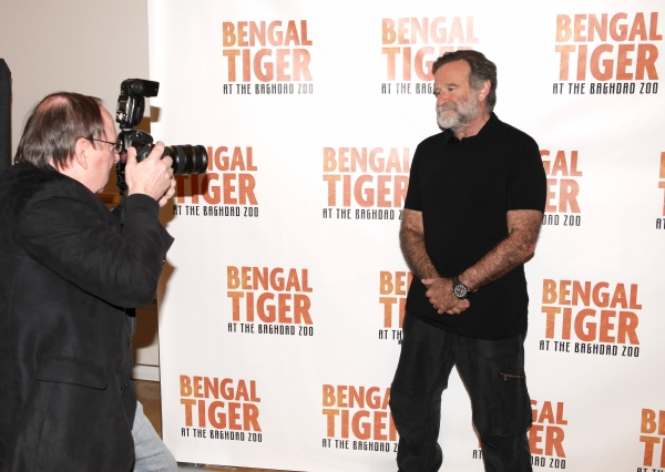 Daily News Photographer Richard Corkery & Robin Williams attends the 'Bengal Tiger at The Baghdad Zoo' Meet & Greet during Rehearsals at The New 42nd Street Studios in New York City.