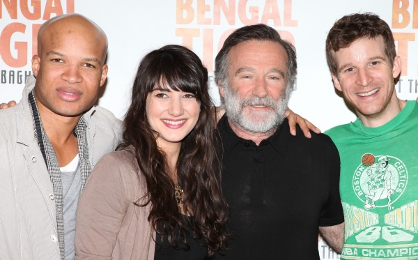 Glenn Davis, Arian Moayed, Robin Williams, Brad Fleischer attends the 'Bengal Tiger at The Baghdad Zoo' Meet & Greet during Rehearsals at The New 42nd Street Studios in New York City.