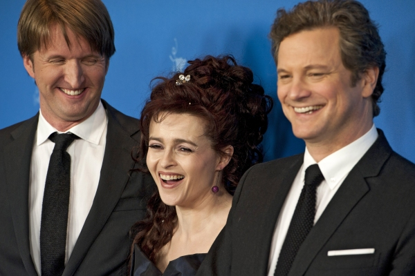 Feb. 16, 2011 - Berlin, Berlin, Germany - Director Tom Hooper, actress Helena Bonham Carter and actor Colin Firth during the photocall of ''The King's Speech'' at the Berlinale 2011 at THE KING'S SPEECH at the Berlin Film Festival