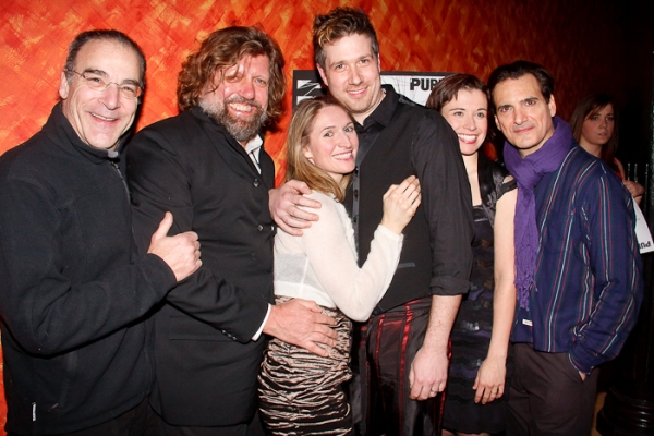 Mandy Patinkin, Oskar Eustis, Rinne Groff, Matt Acheson, Hannah Cabell, and Matte Osian at COMPULSION Opens at the Public