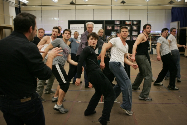 Daniel Radcliffe, John Larroquette and the company of How To Succeed