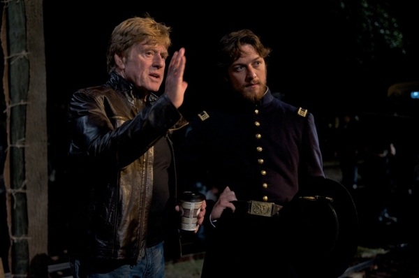 Robert Redford directs lead actor James McAvoy on set in Savannah, GA