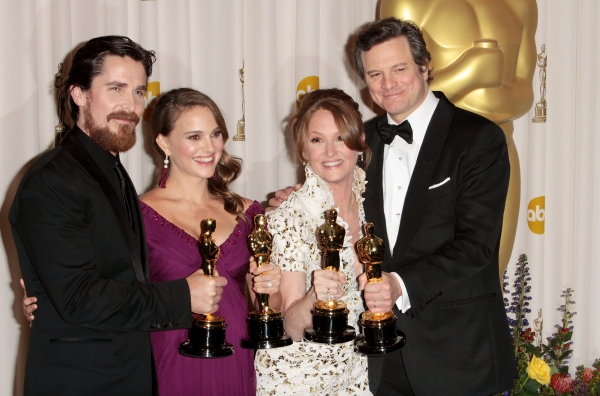Christian Bale, Natalie Portman, Melissa Leo, and Colin Firth pictured at the 83rd Annual Academy Awards - Press Room held at the Kodak Theatre in Hollywood, California on February 27, 2011. © RD / Orchon / Retna Digital.