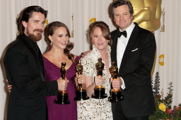 Christian Bale, Natalie Portman, Melissa Leo, and Colin Firth pictured at the 83rd Annual Academy Awards - Press Room held at the Kodak Theatre in Hollywood, California on February 27, 2011. © RD / Orchon / Retna Digital. at 2011 Academy Award Winners!