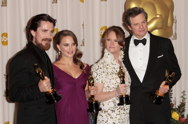Christian Bale, Natalie Portman, Melissa Leo, and Colin Firth pictured at the 83rd An Photo
