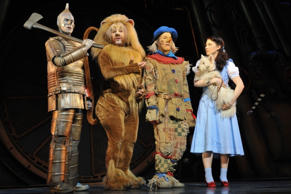 Tin Man (Edward Baker-Duly), Lion (David Ganly), Scarecrow (Paul Keating), Dorothy (Danielle Hope) and Toto (Dazzle)