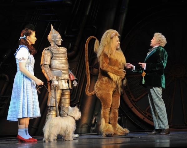 Dorothy (Danielle Hope), Tin Man (Edward Baker-Duly), Lion (David Ganley) meet the Wizard (Michael Crawford).