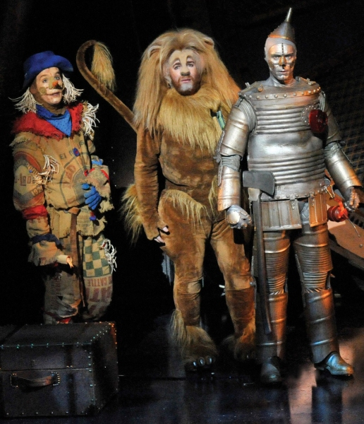 Scarecrow (Paul Keating), Lion (David Ganly) and Tin Man (Edward Baker-Duly)