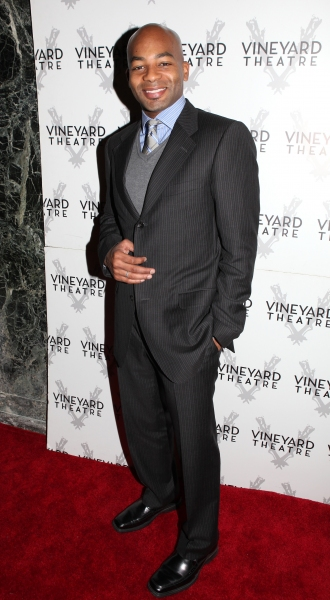 Brandon Victor Dixon arriving for STRO! The Vineyard Theatre Annual Spring Gala honors Susan Stroman at the Hudson Theatre in New York City