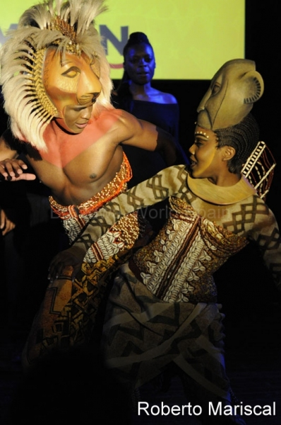 Andile Gumbi and Jessica Mears at THE LION KING Hits Madrid in October 2011