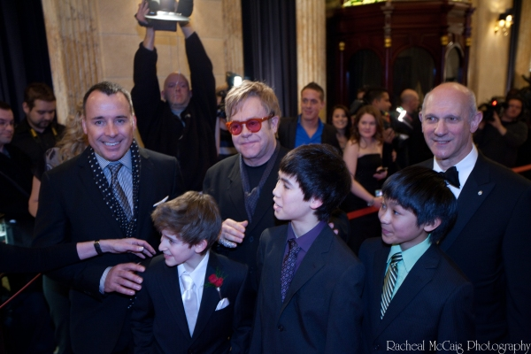 David Furnish, Myles Erlick, Sir Elton John, Marcus Pei, J.P. Viernes and David Mirvish
