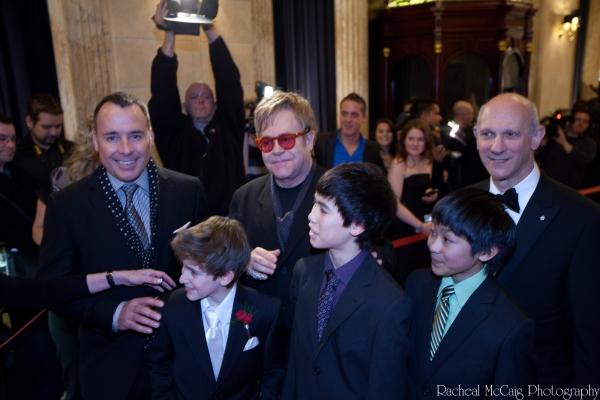 David Furnish, Myles Erlick, Sir Elton John, Marcus Pei, J.P. Viernes and David Mirvi Photo