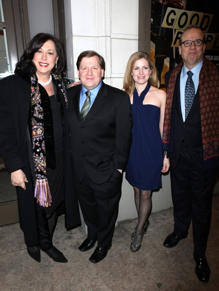 Lynne Meadow, David Lindsay-Abaire & Christine Lindsay-Abaire & Barry Grove arriving for the Opening Night Performance of the Manhattan Theatre Club's 'Good People'  in New York City.