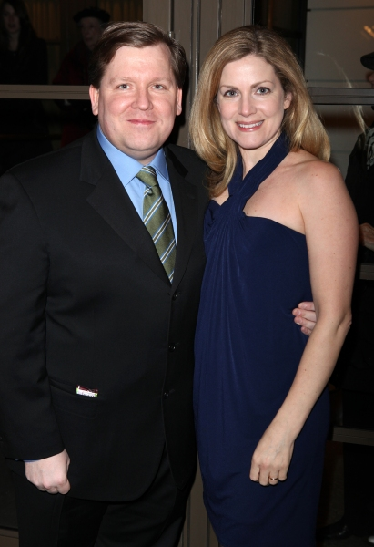 David Lindsay-Abaire & Christine Lindsay-Abaire arriving for the Opening Night Performance of the Manhattan Theatre Club's 'Good People'  in New York City.