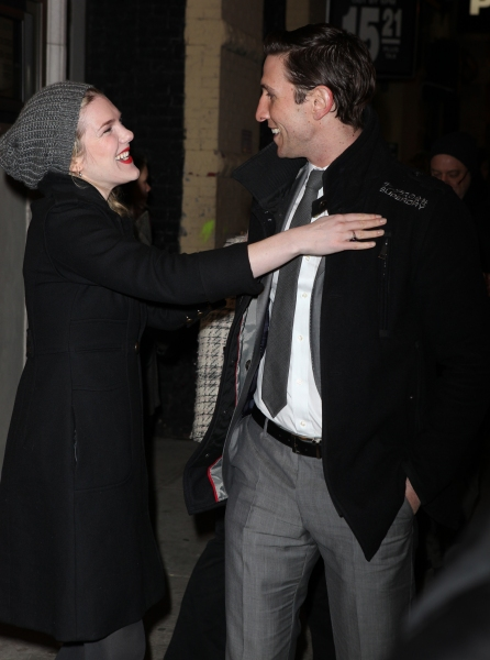 Lily Rabe & Pablo Schreiber arriving for the Opening Night Performance of the Manhatt Photo