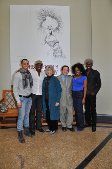 From the cast of Disney's Lion King- Kellen Stancil, Dashaun Young, Trista Dollison and Steven Cutts with Louise Kerz Hirschfeld and David Leopold