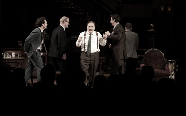 Jason Patric, Jim Gaffigan, Brian Cox, Chris Noth & Keifer Sutherland during the Opening Night Performance Curtain Call for  'That Championship Season' at the Bernard B. Jacobs Theatre  in New York City.