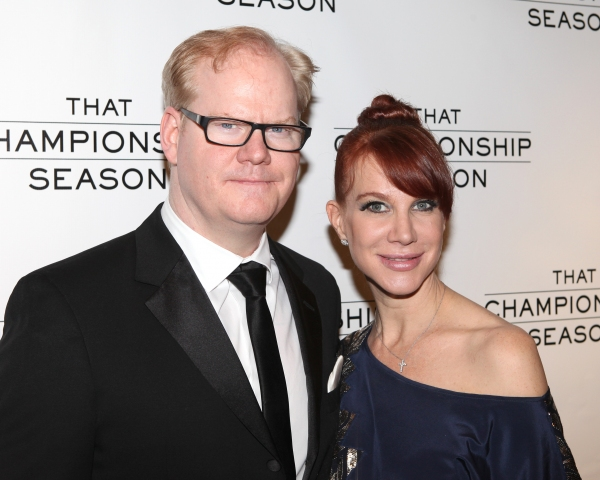 Jim Gaffigan and Jeannie Noth attending the Opening Night Performance After Party for  'That Championship Season' at Gotham Hall in New York City. at THAT CHAMPIONSHIP SEASON Opening Night After Party