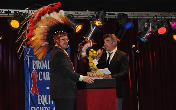 Scott T. Stevens and Bryan Batt with the Will Rogers Follies Bear