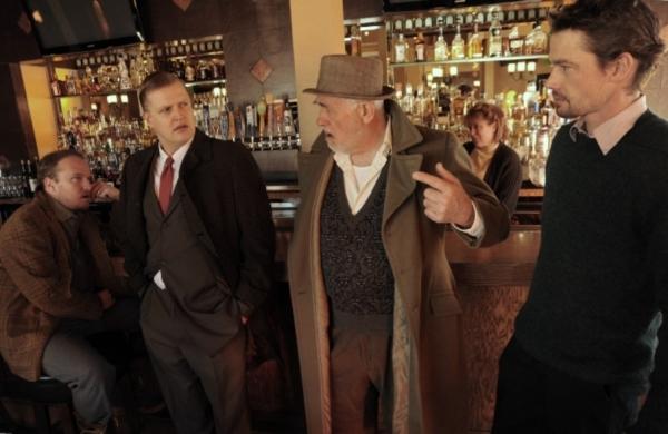 Cast Photo L-R: Josh Hartwell, Brian Landis Folkins, Jim Hunt, Abraham Willock and Paige L. Larson (behind bar)