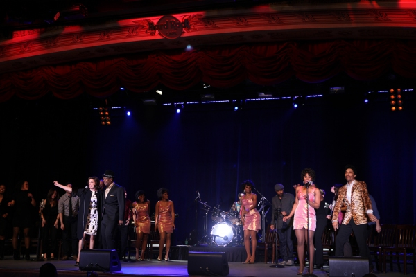 Beth Leavel, Allan Louis & The Shirelles played by Kyra Da Costa, Crystal Starr Knighton, Erica Ash & Christina Sajous performing a Sneek Peek of the New Broadway Musical  'Baby It's You' at the Hard Rock Cafe in New York City.