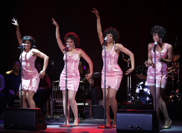 The Shirelles played by Kyra Da Costa, Crystal Starr Knighton, Erica Ash & Christina Sajous performing a Sneek Peek of the New Broadway Musical 'Baby It's You' at the Hard Rock Cafe in New York City