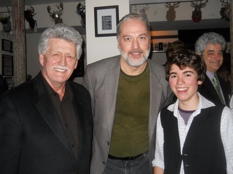 BH Barry, Tom Hewitt (Long John Silver) and Noah E Galvin (Jim Hawkins)