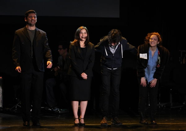 Tony Yazbeck, America Ferrera, Nat Wolff & Kat Pallardy Performing in 'The Exact Right Thing' at The 24 Hour Musicals after performance party at the Gramercy Theatre in New York City.