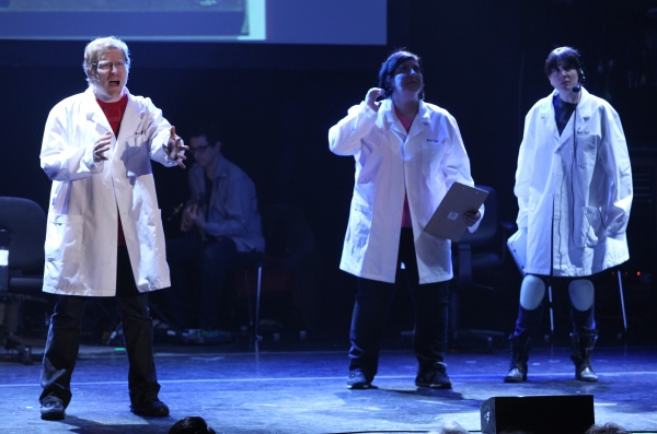 Anthony Rapp  & Ashlie Atkinson & Kat Pallardy Performing in 'The World Is Ending' at The 24 Hour Musicals after performance party at the Gramercy Theatre in New York City.