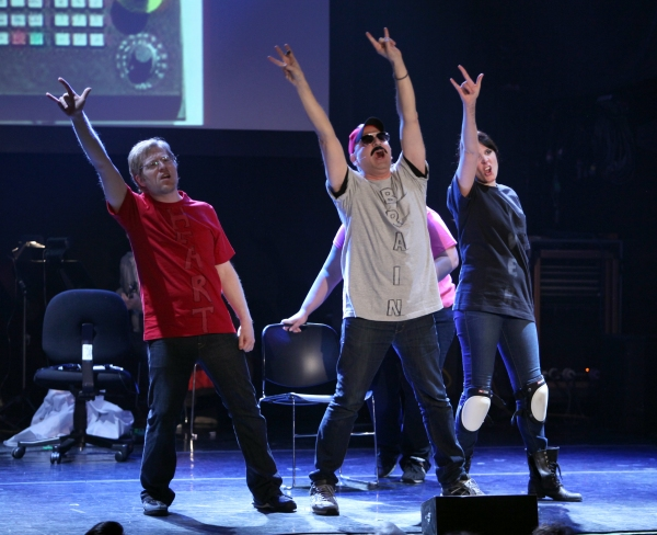 Anthony Rapp, Ashlie Atkinson, Julian Fleisher, Dee Roscioli Performing in 'The World Is Ending' at The 24 Hour Musicals after performance party at the Gramercy Theatre in New York City.