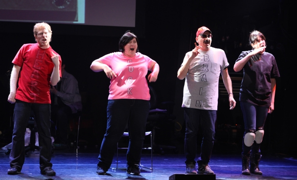 Anthony Rapp, Ashlie Atkinson, Julian Fleisher & Dee Roscioli Performing in 'The World Is Ending' at The 24 Hour Musicals after performance party at the Gramercy Theatre in New York City. at The 24 Hour Musicals - Anthony Rapp in THE WORLD IS ENDING