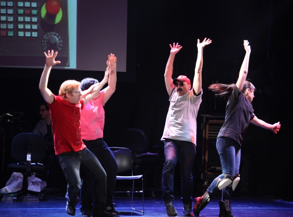 Anthony Rapp, Ashlie Atkinson, Julian Fleisher & Dee Roscioli Performing in 'The World Is Ending' at The 24 Hour Musicals after performance party at the Gramercy Theatre in New York City.