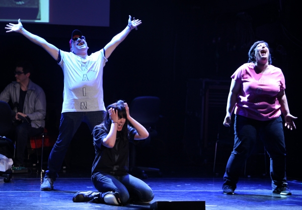 Julian Fleisher & Dee Roscioli & Ashlie Atkinson Performing in 'The World Is Ending' at The 24 Hour Musicals after performance party at the Gramercy Theatre in New York City.