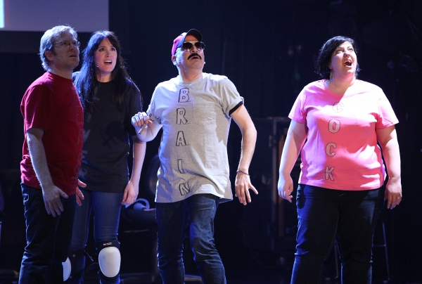 Anthony Rapp,  Dee Roscioli, Julian Fleisher, Ashlie Atkinson Performing in 'The World Is Ending' at The 24 Hour Musicals after performance party at the Gramercy Theatre in New York City.