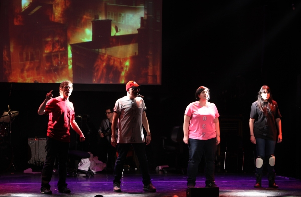Anthony Rapp, Julian Fleisher, Ashlie Atkinson & Dee Roscioli Performing in 'The World Is Ending' at The 24 Hour Musicals after performance party at the Gramercy Theatre in New York City.